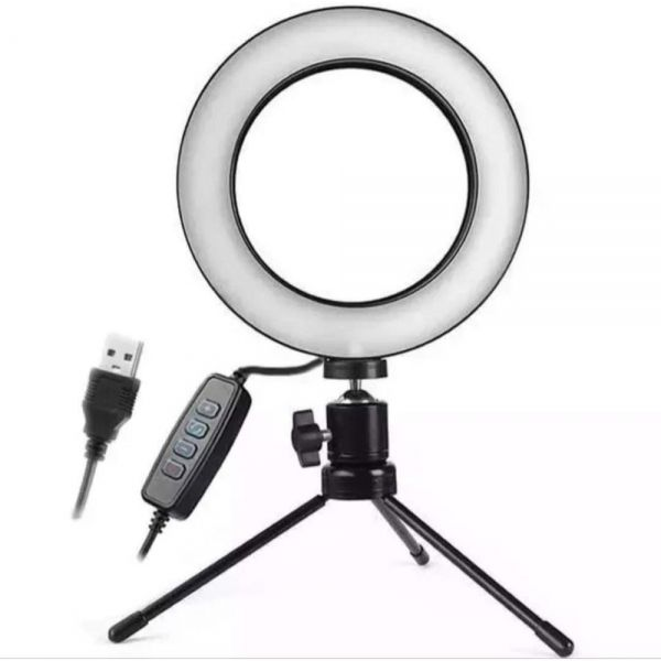 Iluminador Ring Light 16Cm Usb Led Misto 3500K 5500K + Tripe